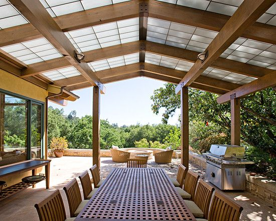 Lovely Pergola Roof Covering At The Patio With Incredible Landscape : Exciting Pergola Roof Covering Combined With Large Dining Table With W...