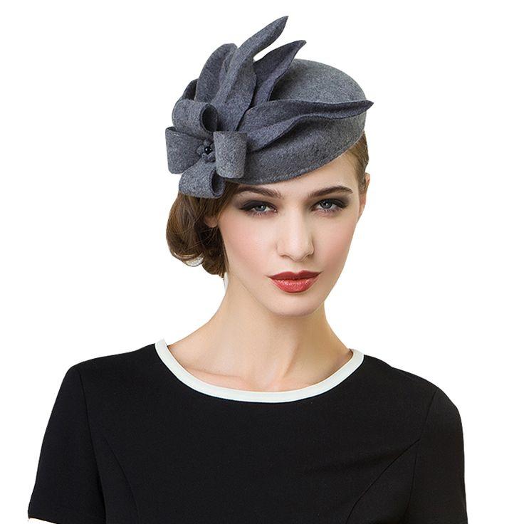 Women Fascinators Pillbox Wool Hat Gray Winter Vintage Felt Festival Party Wedding Ladies Women Fedoras With Fascinating Floral