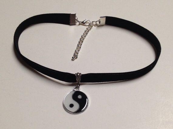 black velvet yin yang choker necklace 90s grunge 11 by dcauldron, $6.50