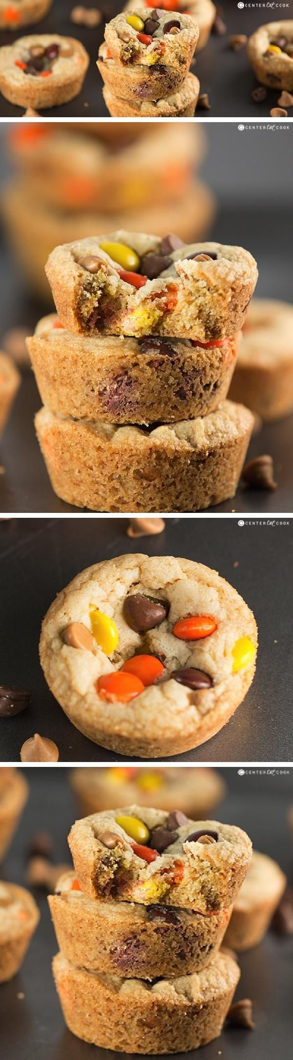 REESE'S COOKIE CUPS are loaded with Reese's Pieces and peanut butter chips for the ultimate cookie made from scratch!
