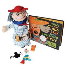 """Our 13 inch H. Soft doll and 7 animal finger Puppets, can be """"swallowed"""" down to her roomy tummy-pouch or store in her pockets at the bottom of the dress. Her hair, Glasses, hat, and other trims are permanently attached. Set includes 8 PC. Puppet & finger Puppets set, and hardcover book. Ages 3 Yrs. […]"""
