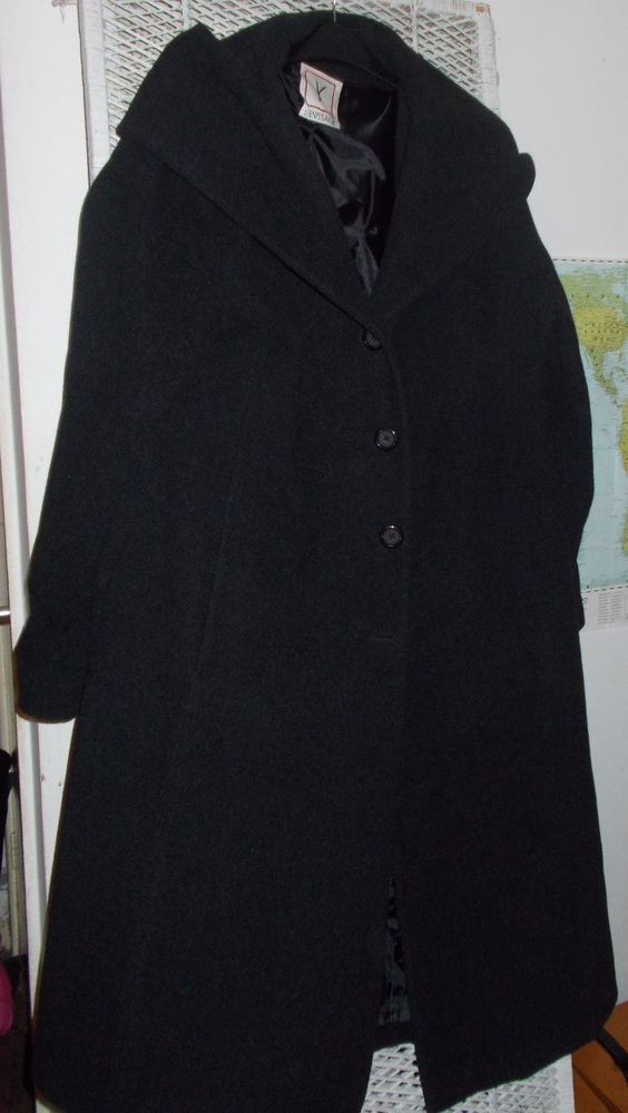 Vernissage Charcoal Vintage Style Swing Coat , Cowl Collar16-18 wow wool designer coat £10