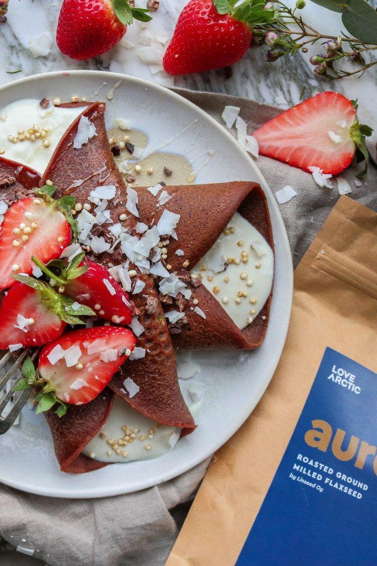 Chocolate Yogurt & Strawberry Crepes #vegan #veganrecipes #sweettreats #flaxseed #brunch