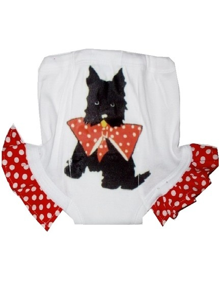 Vintage lucys retro scotty dog with bow polkadot boutique ruffled potty pants the ORIGINAL couture way to train