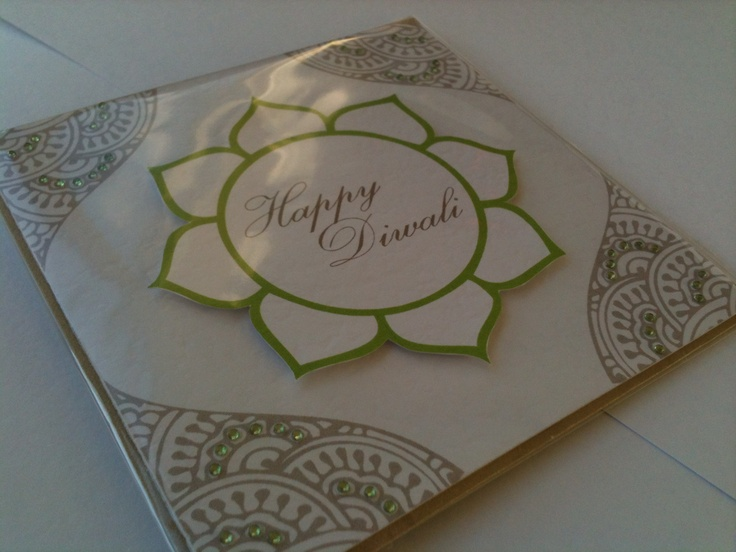 Handmade Diwali cards with stone work detailing