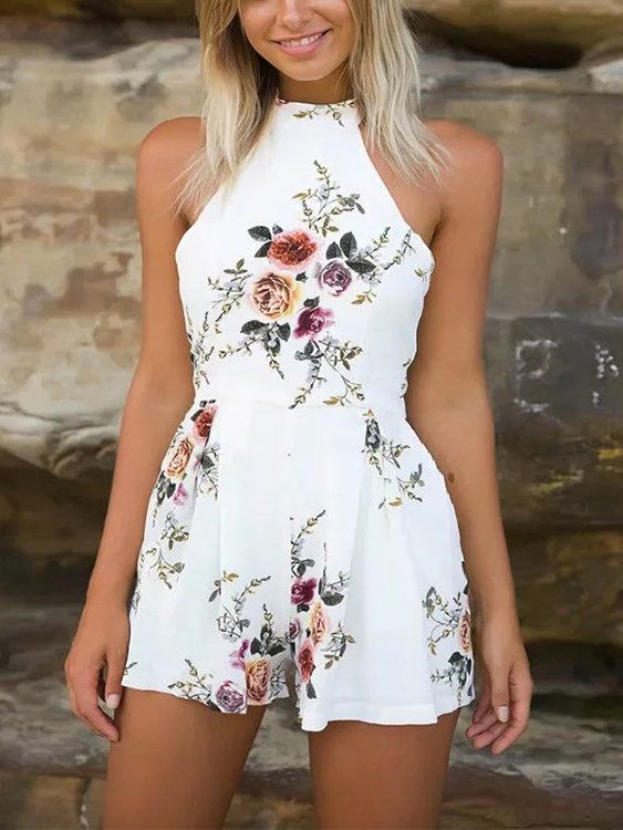 White Random Floral Print Halter Backless Playsuit - US$21