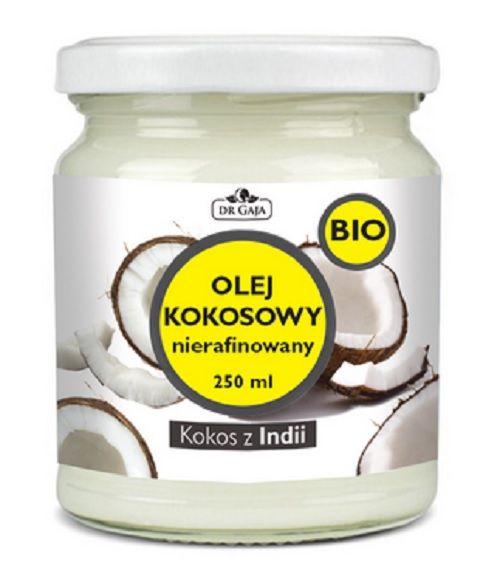 """ORGANICZNY OLEJ KOKOSOWY nierafinowany DR GAJA 250 ml - Apteka Internetowa """"Zawiszy Czarnego"""" Łodź"""