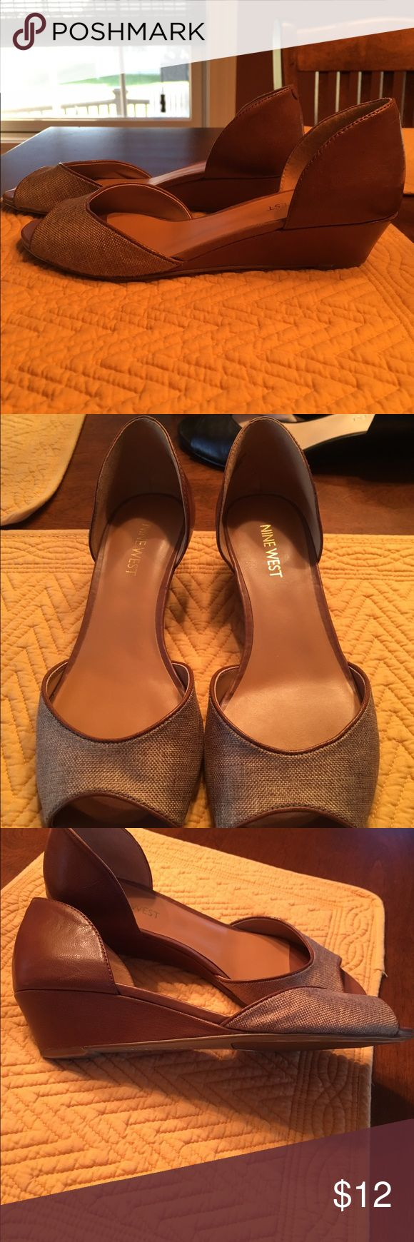 Nine West peep toe wedges Cute light brown wedges. Excellent condition, size 6. Nine West Shoes Wedges