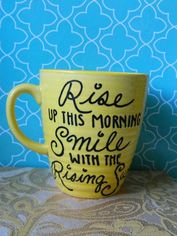 "Coffee Mug: ""Smile with the Rising Sun""  Bob Marley Hand Illustrated Yellow Coffee Cup"