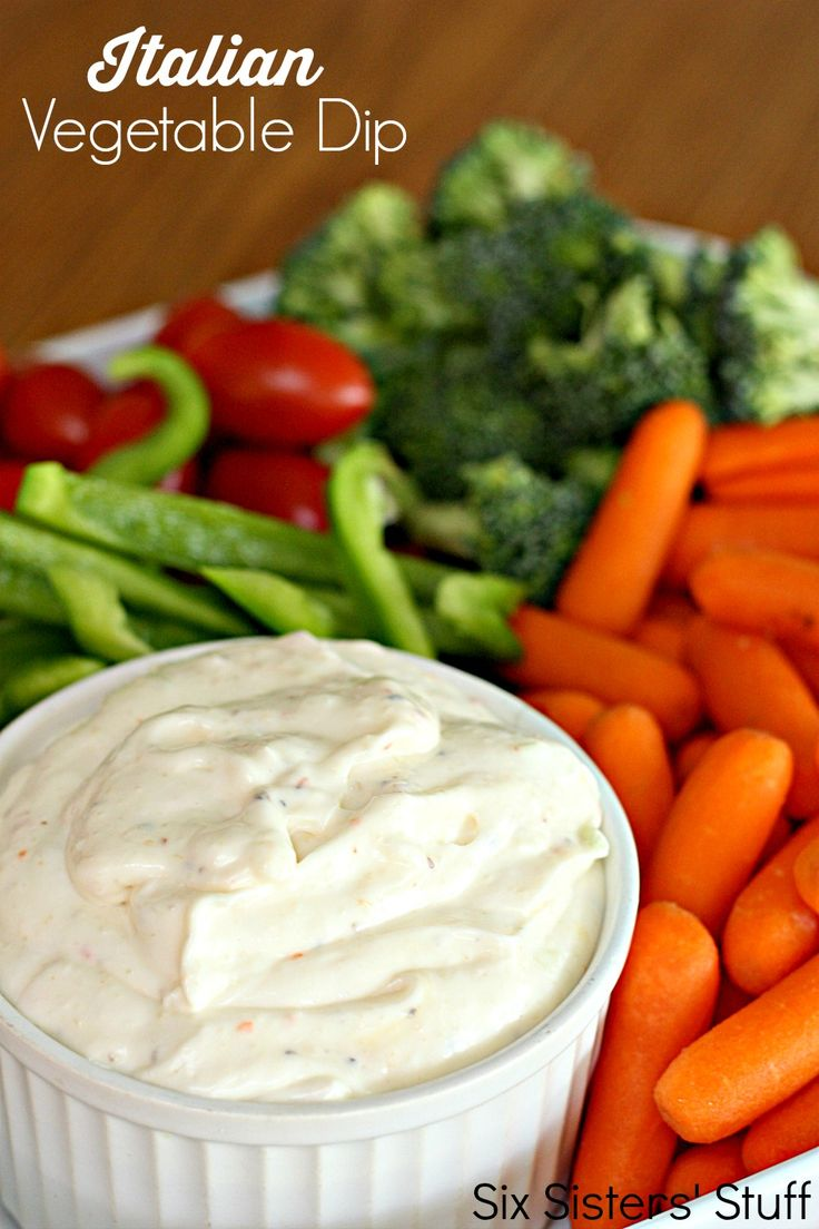 Creamy Italian Vegetable Dip on SixSistersStuff.com - only a handful of ingredients make up this delicious dip!