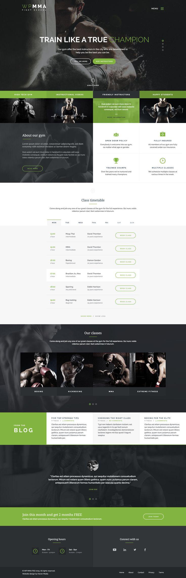 WP MMA - Gym & Fitness PSD - PSD Templates | ThemeForest
