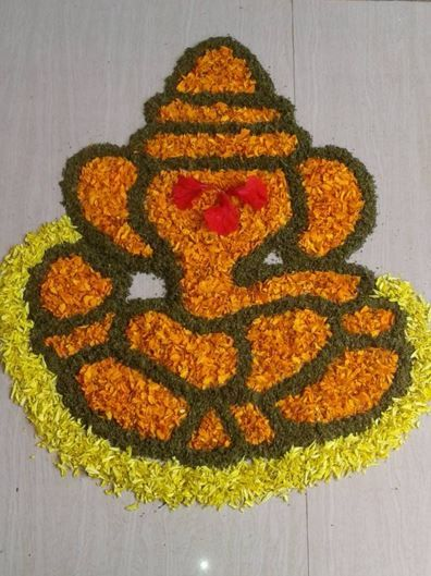 Flower Ganpati Rangoli Designs and Patterns for Diwali.......