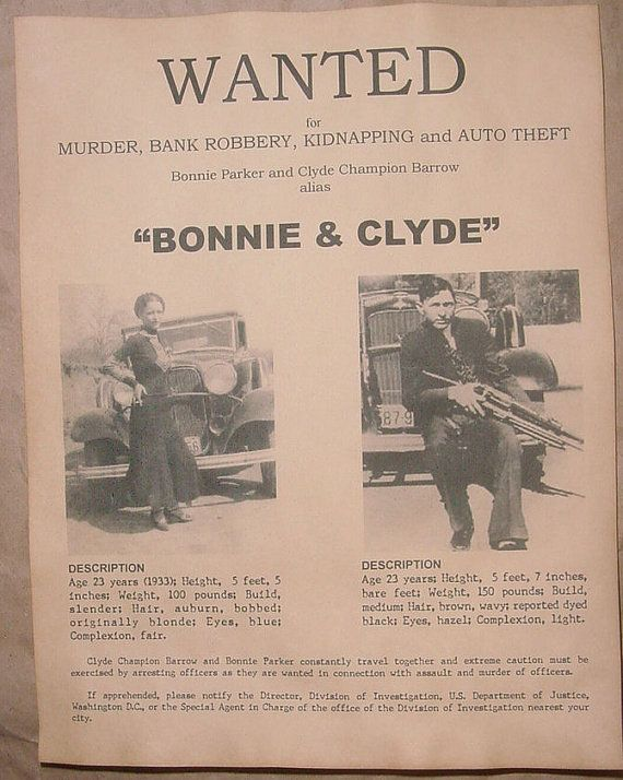 Set of 5 Wanted Posters, Bonnie & Clyde, Al Capone, Baby Face Nelson, John Dillinger, Machine Gun Kelly on Etsy, $10.00