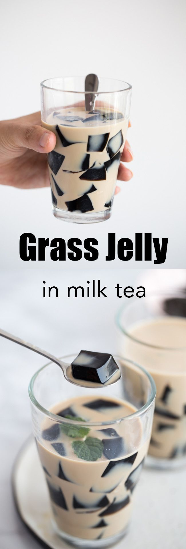 grass jelly in milk tea, grass jelly drink