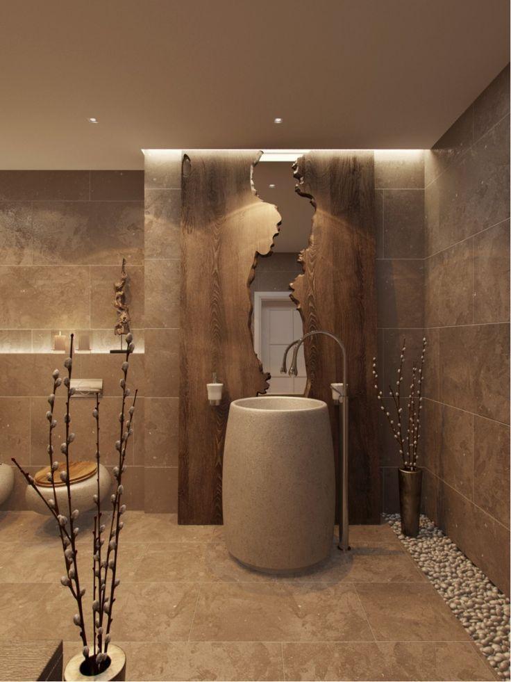 85 идей аксессуаров для ванной комнаты: создаем уют и красоту http://happymodern.ru/aksessuary-dlya-vannojj-komnaty/ Необычное зеркало в деревянной оправе