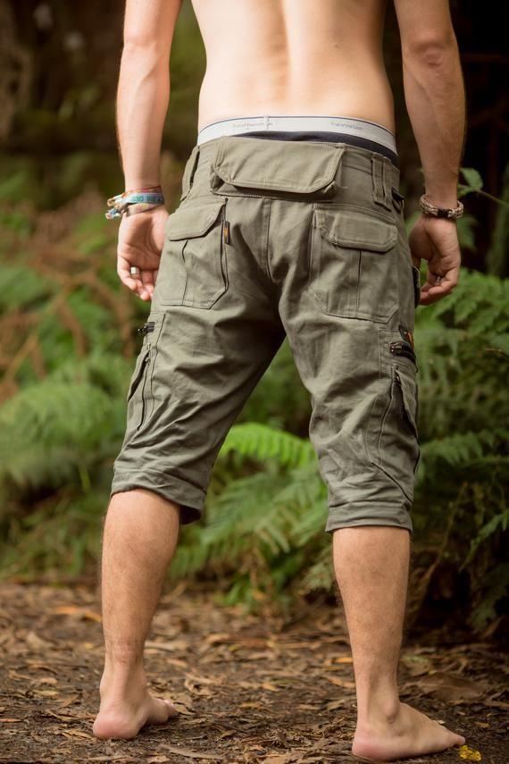 Post Apocalyptic Harem Pants Tribal Fusion Psy Trance Shorts Apocalyptic Clothing Festival Shorts Drop Crotch Shorts Unisex