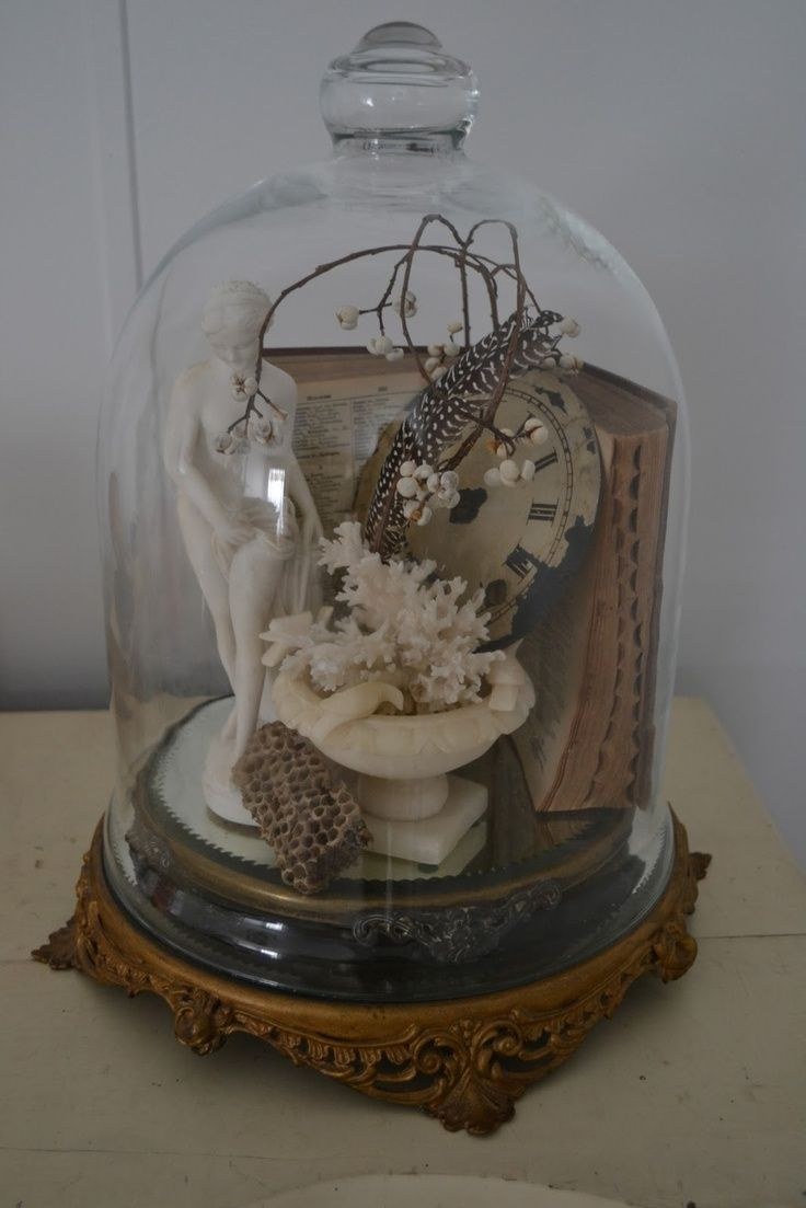 Classy vignette is enhanced with a glass cloche....and protected from dust too!