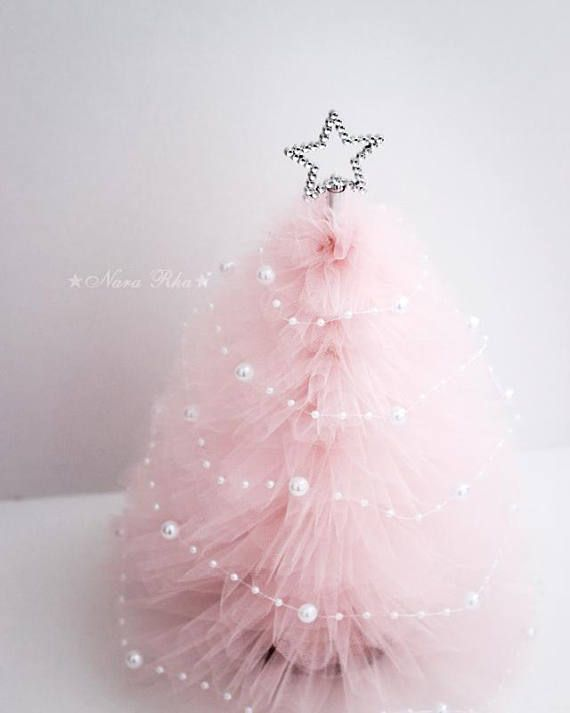 Tulle Christmas Tree, Pink Christmas Tree, Christmas Gifts, Holiday Tree, Silver Star, Shabby Decor, Holiday Decor, Home Decor One- Baby Pink Tulle Christmas Tree (MADE TO ORDER) Our Mini Trees are perfect decoration for Holiday. Tree comes with Silver star topper and Pearl Garland (Please