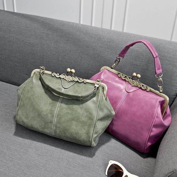 British Style Leather Kiss Clip Handbag Vintage Nubuck Message Bags