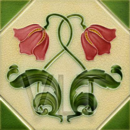 Cerámica con un diseño floral Art Nouveau (Villa Lagoon Tile | Mosaic Cement Tile)