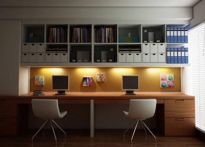 Desain Ruang Kerja Minimalis di Dalam Rumah Nyaman 9 - Ruang keja dua kursi segaris nyaman