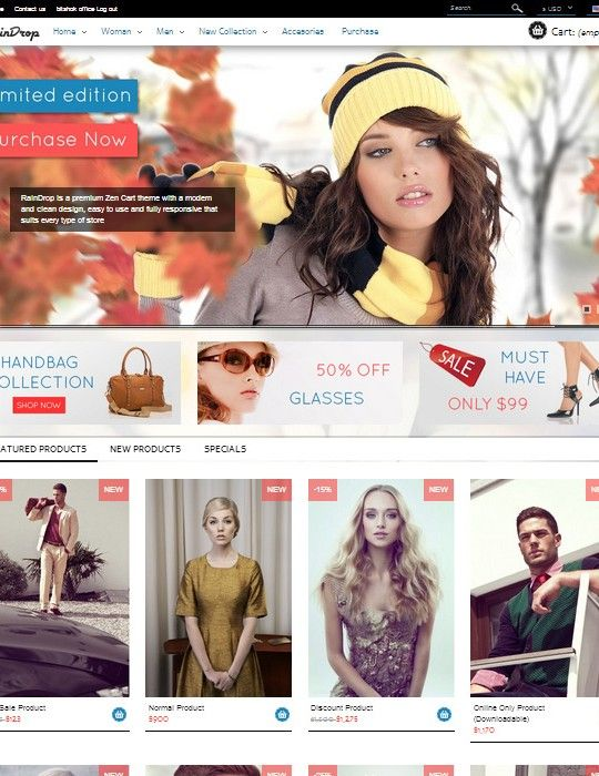RainDrop is a Premium Prestashop v1.5 Theme with a modern and clean design, easy to use and fully responsive that suits every type of store. #prestashop #theme #ecommerce #fashion