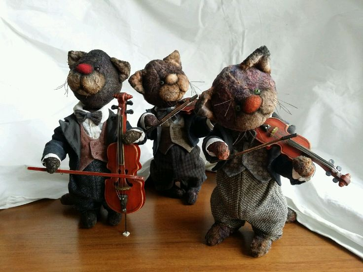Купить Трио! - коты, кот, музыкальные инструменты, музыкант, инна деева, винтажный плюш