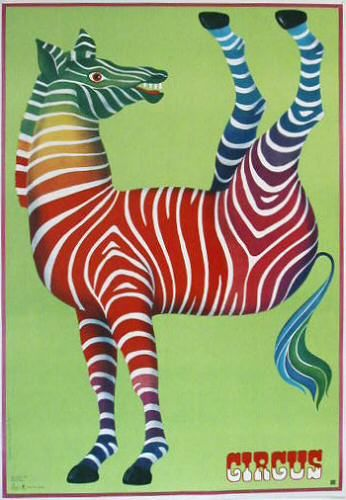 "Many of the hidden meanings in CYRK posters are less specific than the Vs in 1983 posters. Take ""Zebra with legs in air"" (1979) by Hubert Hilscher. The twisted, half upside-down figure suggests the disorder of the political situation in Poland, while using ""Circus"" instead of ""Cyrk"" connotes a pro-Western outlook."