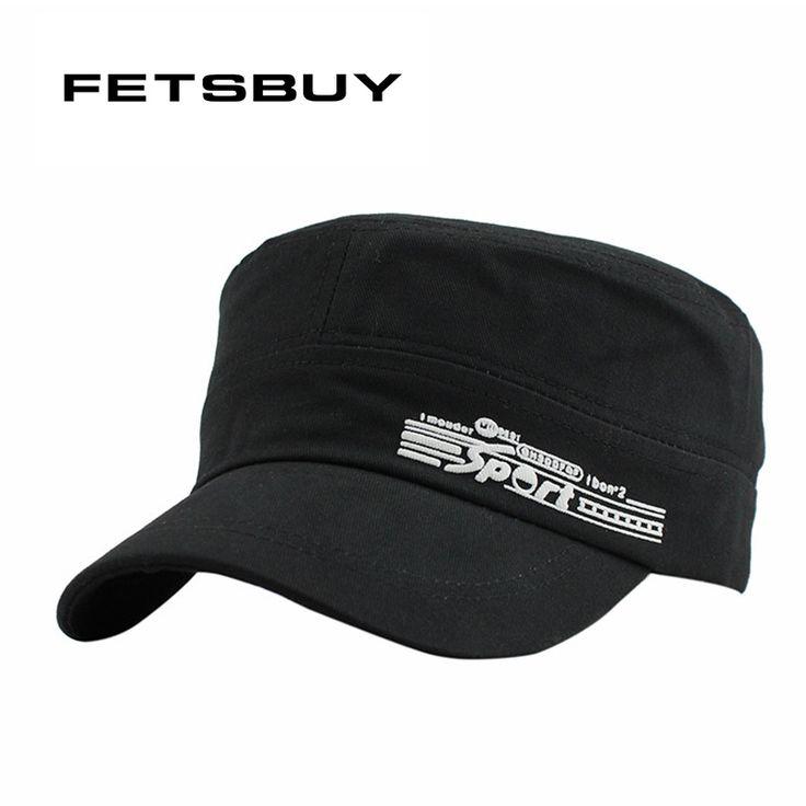FETSBUY Cotton Grey Flat Roof Military Hats Men Vintage Bush Male Army Hat Cadet Military Patrol Cap Gorras Plana Baseball Cap