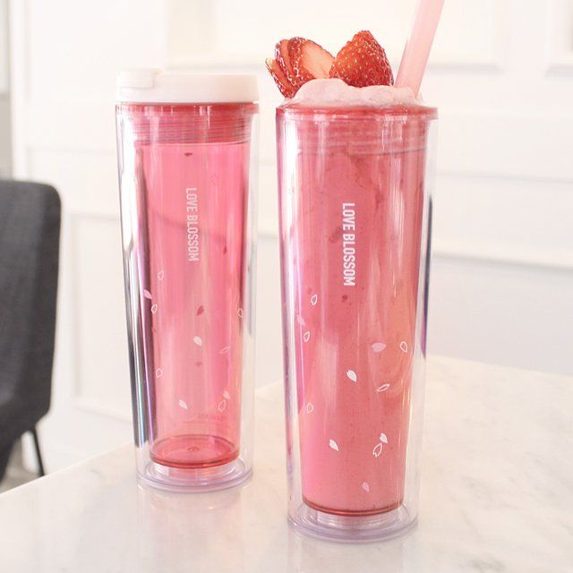 Fancy | [Free shipping,1+1] Easy Lid Baton Tumbler Series (Cherry Petals+Snow…