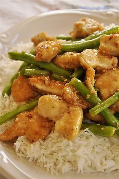 General Tso's Chicken and Green Beans