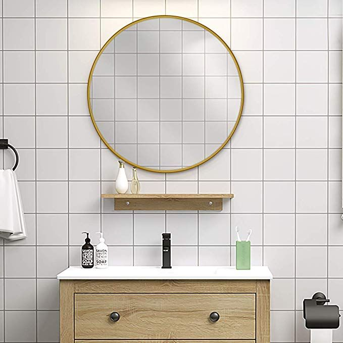 Amazon Com Leoriso 22 Round Mirror 0 7 Gold Metal Frame Wall Mirror Large Circle Mirror For Bedroom Ba In 2020 Framed Mirror Wall Large Circle Mirror Mirror Wall