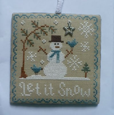 Hooked on Exchanging blog. Let It Snow Cross Stitch ornament