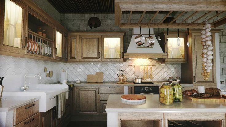 Kitchen Designs:The Charming Kitchen Design In Traditional Touch With Overly Textured Cabinetry And Diagonal Set White Tiles 11 Luxury Traditional Kitchen Thoughts