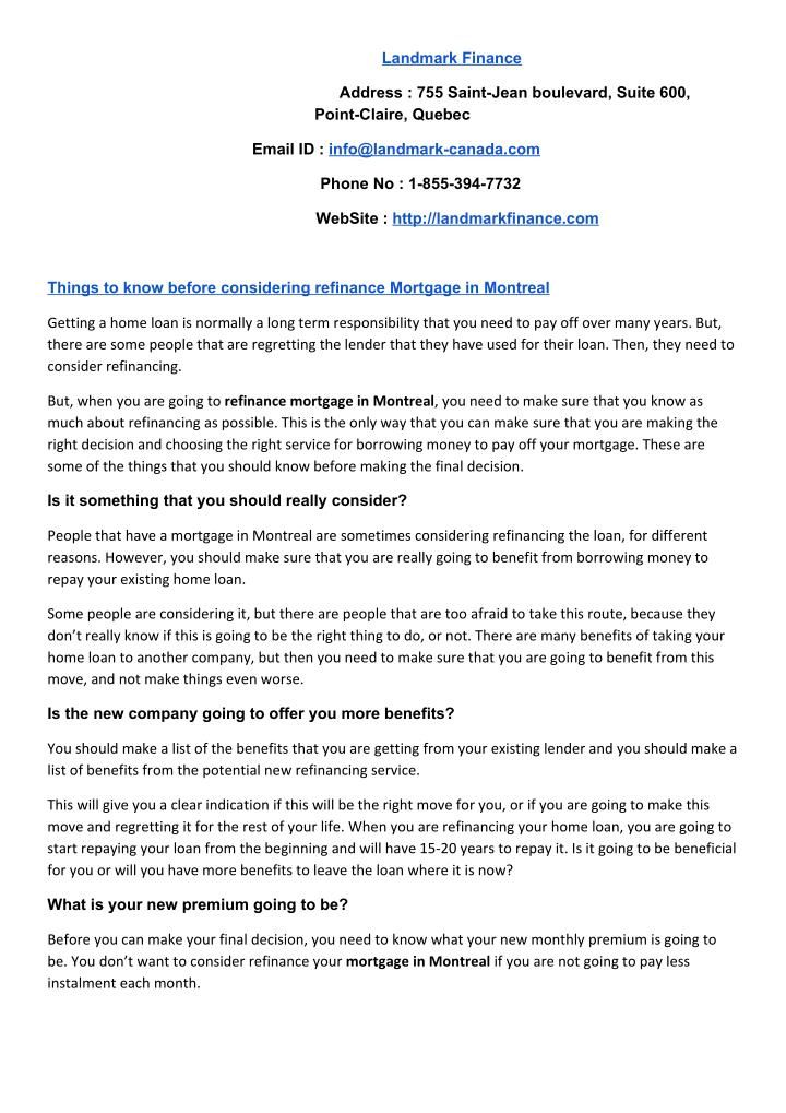 Things to know before considering refinance mortgage in
