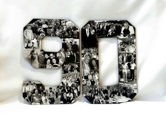 90th Birthday Photo Collage, Milestone Birthday Gift, Professional Custom Photo Collage, Alphabet Letter Collage, College Dorm Room Display,