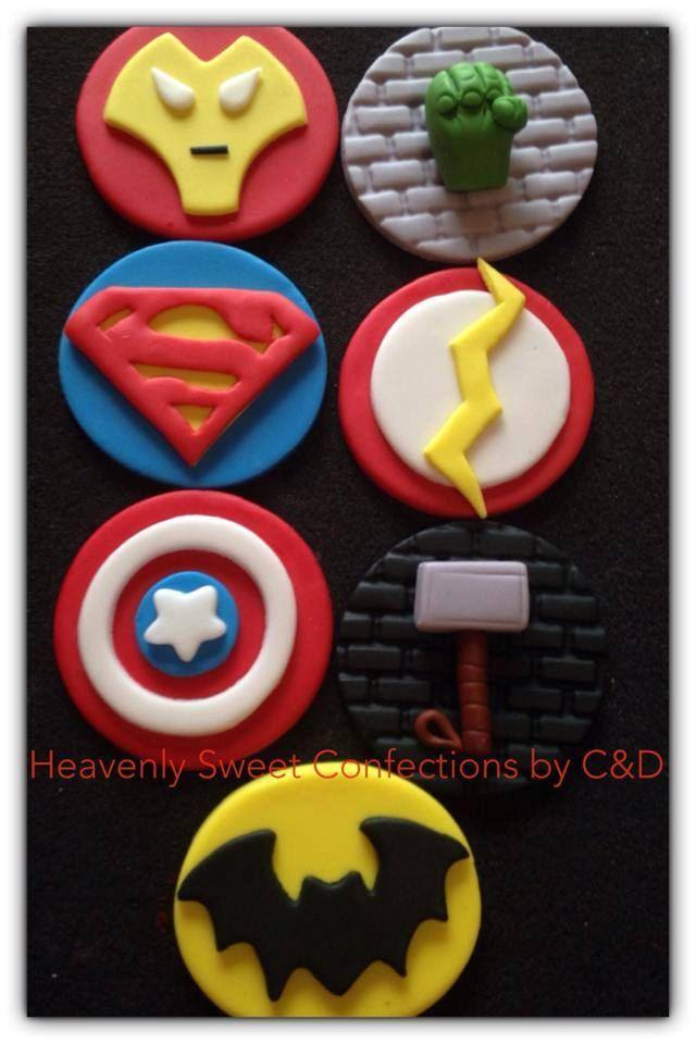 Avenger Superhero Cupcake Toppers by HeavenlySweetConfect on Etsy, $20.00