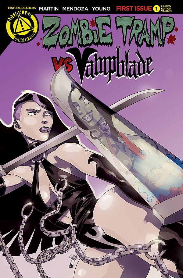 ZOMBIE TRAMP VS VAMPBLADE #1. Action Lab Comics. Written by Dan Mendoza and Jason Martin, and illustrated by Winston Young, with covers by Winston Young featuring a regular cover, a Vampblade variant cover, a Vampblade risqué variant cover, a Zombie Tramp variant cover, and a Zombie Tramp risqué variant cover. This is the Vampblade variant cover. Released May 27, 2015.
