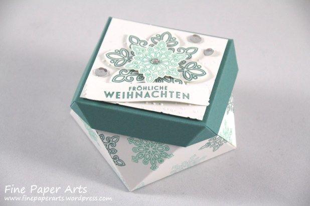 Stampin up, Verpackung Weihnachten, Box christmas, Stempelset Flockenzauber, Stanze Schneeflocken, Flurry of Wishes Stamp set, Snow Flurry Punch - Fine Paper Arts