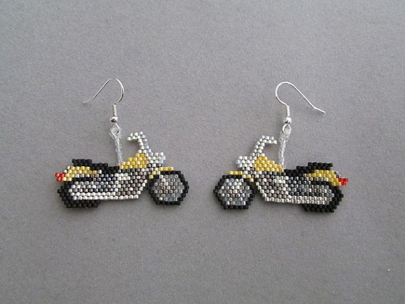 Yellow Motorcycle Earrings in delica seed by DsBeadedCrochetedEtc