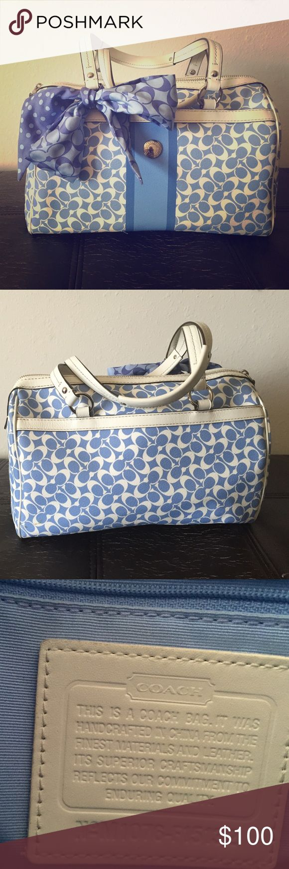 COACH satchel Barely used COACH satchel with scarf included but is detachable. Coach Bags Satchels