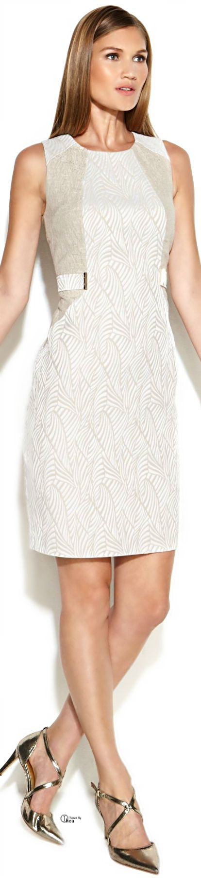 Calvin Klein White + Metallic Sheath Dress //