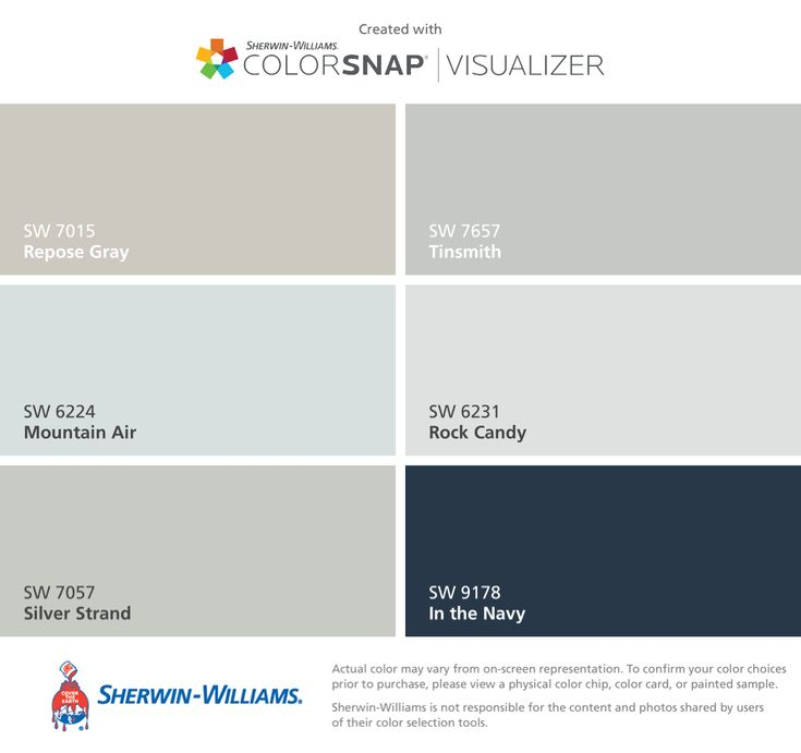 I found these colors with ColorSnap® Visualizer for iPhone by Sherwin-Williams: Repose Gray (SW 7015), Mountain Air (SW 6224), Silver Strand (SW 7057), Tinsmith (SW 7657), Rock Candy (SW 6231), In the Navy (SW 9178).