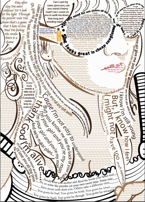 Self portrait created with song lyrics