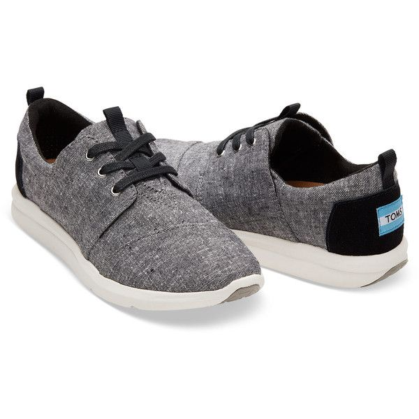 TOMS Black Slub Chambray Women's Del Rey Sneakers Shoes (110 CAD) ❤ liked on Polyvore featuring shoes, sneakers, breathable sneakers, toms shoes, black shoes, lightweight shoes and breathable shoes