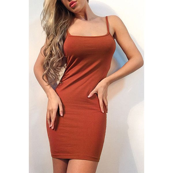 Yoins Brown Backless Bodycon Fit Slip Dress (17 AUD) ❤ liked on Polyvore featuring dresses, brown, brown bodycon dress, short dresses, short bodycon dresses, red dress and sexy bodycon dresses