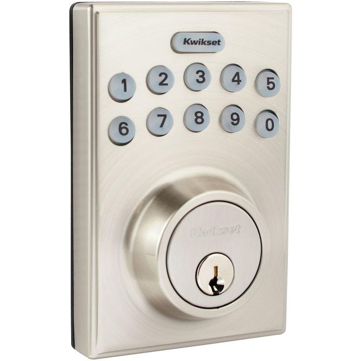 Kwikset 264 Series Contemporary Single Cylinder Satin Nickel Electronic Deadbolt-264CNT 15 SCAL SCS - The Home Depot