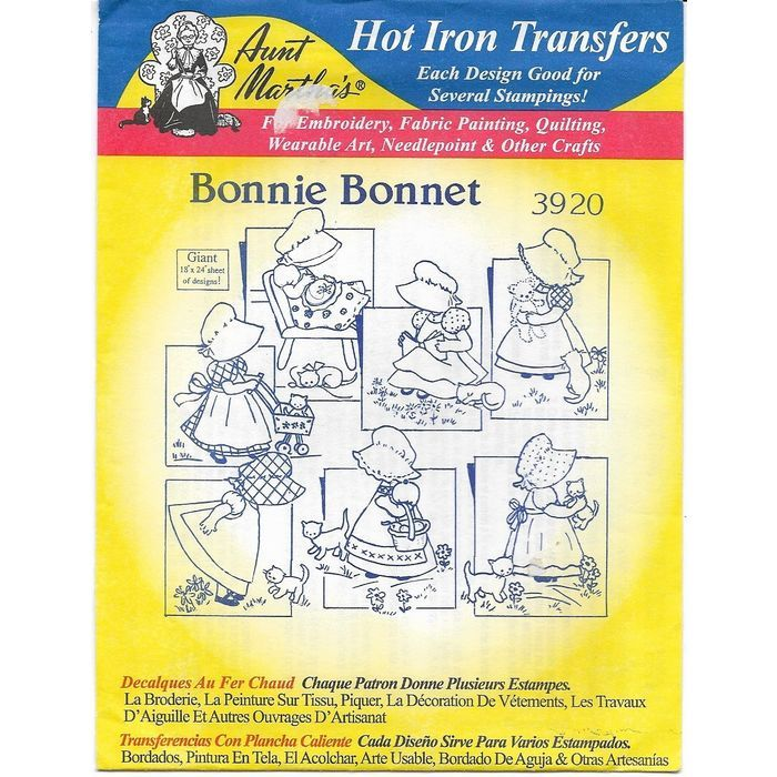 Aunt Martha\'s Hot Iron Transfers 3920 Bonnie Bonnet 7 pieces of ...