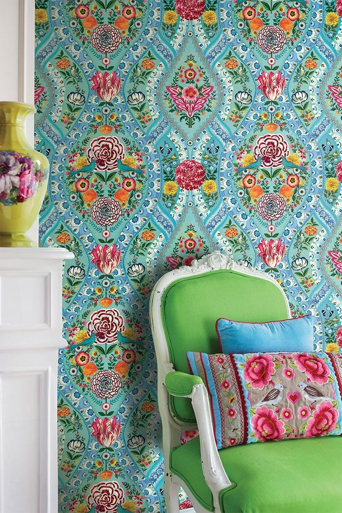 PiP Melody | Blue Wallpaper | PiP Studio © | Colourful Floral and Birds Wallpaper