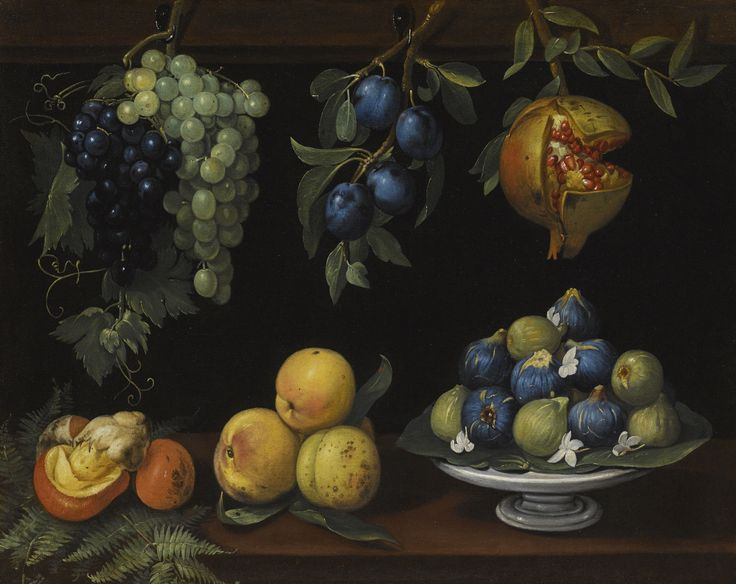 Circle of The Master of Hartford A STILL LIFE WITH FIGS, PEACHES, GRAPES, PLUMS, MUSHROOMS AND A POMEGRANATE oil on canvas 64.3 x 79 cm.; 25 1/4  x 31 1/8  in.